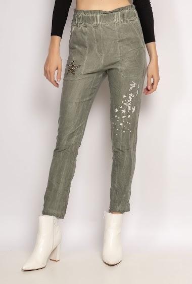 pantalon froissé avec écriture - For Her Paris