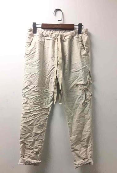 pantalon froissé avec une étoile latérale brodée - For Her Paris