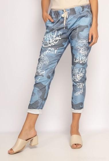 pantalon froissé imprimé avec écriture - For Her Paris
