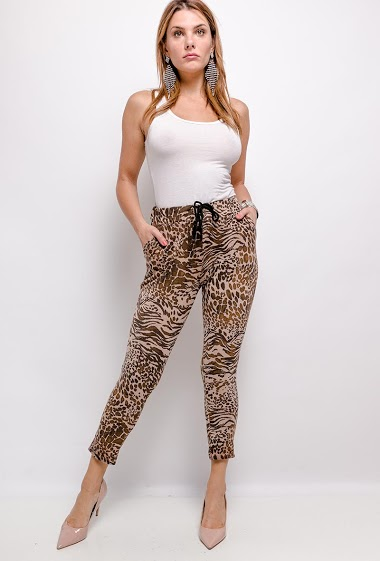 pantalon imprimé léopard élastiqué à la taille - For Her Paris