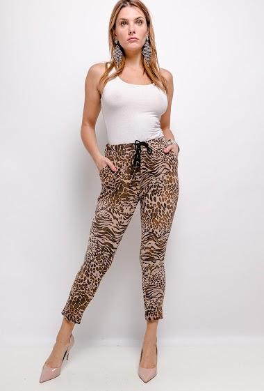 elastic leopard print pants at the waist - For Her Paris