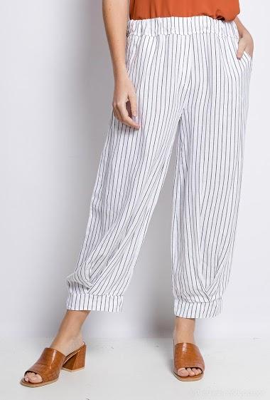 Pantalon Lin/Coton à rayures - For Her Paris