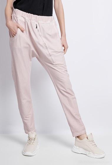 Plain cotton sarouel pants - For Her Paris