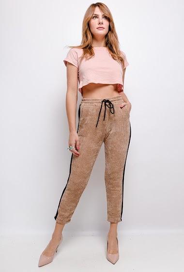 pantalon uni élastiqué à la taille - For Her Paris