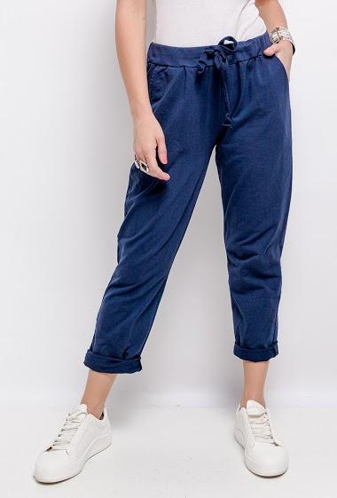 plain elastic pants at the waist - For Her Paris