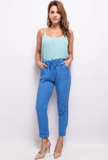 plain trousers in linen - For Her Paris