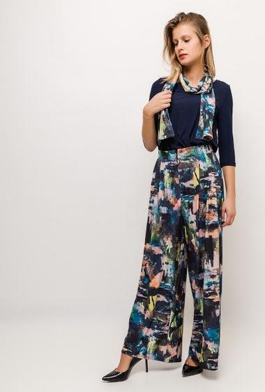 Pantalon large imprimé VICKY - For Her Paris