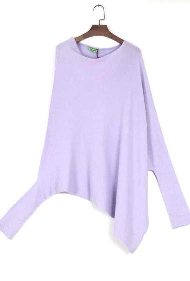 asymmetric oversized round neck knit poncho - For Her Paris