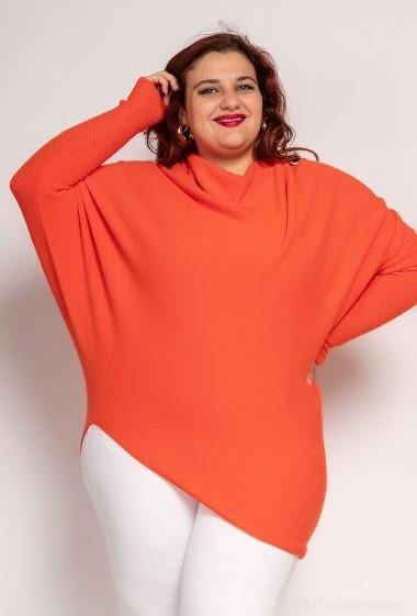 poncho asymétrique oversize en maille col rond - For Her Paris