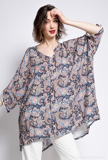 poncho motif cachemire en coton - For Her Paris
