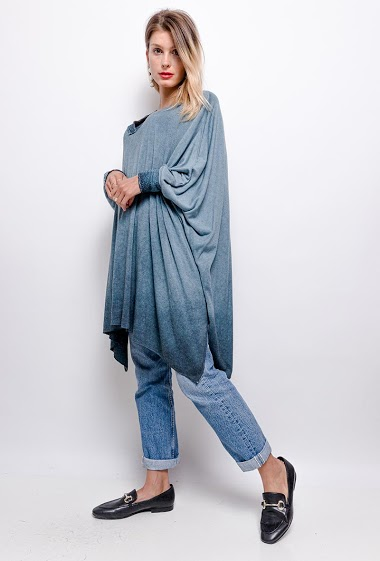 poncho uni en col V - For Her Paris