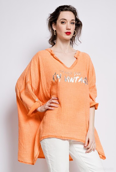 poncho uni en coton - For Her Paris