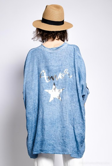 poncho uni en lin et coton - For Her Paris