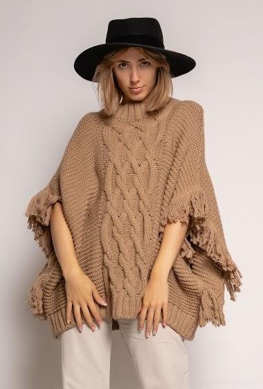 Poncho uni tricoté - For Her Paris