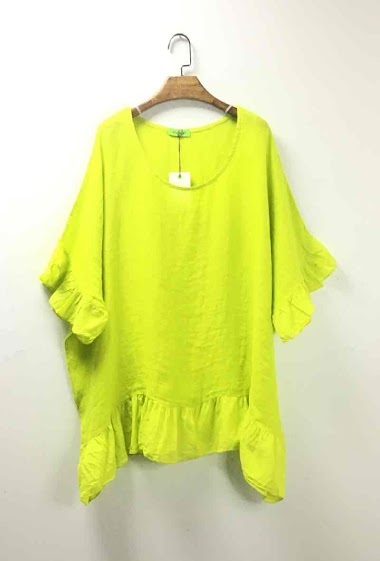 Plain poncho in 100% linen - For Her Paris
