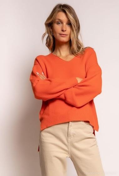 Plain oversized V-neck sweater - For Her Paris