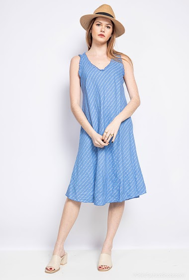 Dress with straps and stripes - For Her Paris