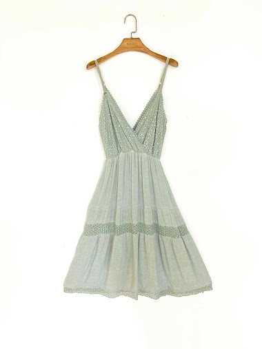 Thin straps dress in cotton and linen - For Her Paris
