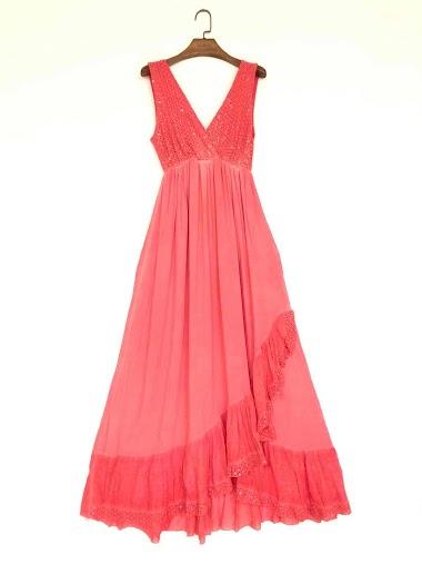 plain long dress with sequins - For Her Paris