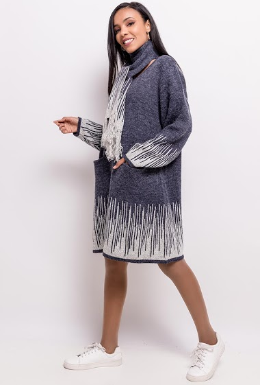 Big size Printed knit dress - For Her Paris