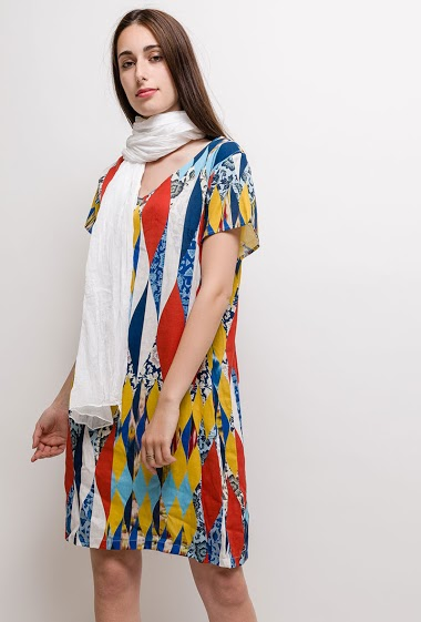 Big size Printed dress Linen / Silk BETTY - For Her Paris