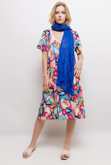 Printed big size long dress LUNA - For Her Paris