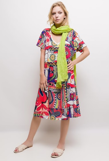 Printed big size long dress ADRIANA - For Her Paris