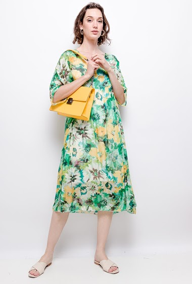 printed dress in 100% silk - For Her Paris
