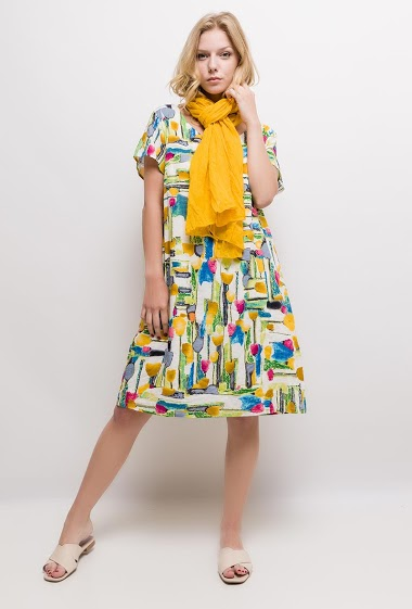 Big size Printed cotton dress JULINE - For Her Paris