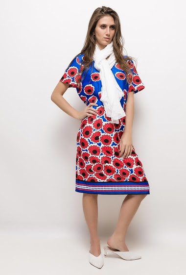 Big size Printed dress EGLANTINE - For Her Paris