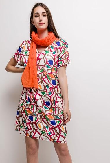 Big size Printed dress MAYLIS - For Her Paris