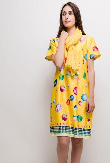 Big size Printed dress ANTHONIA - For Her Paris