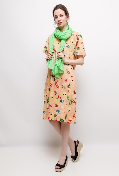 Big size Printed Linen/Silk dress EMMA - For Her Paris