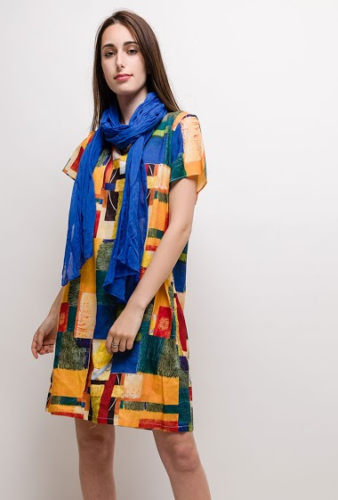 Big size Printed Linen/Silk dress BRENDA - For Her Paris
