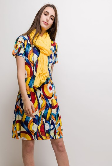 Linen/Silk print dress MONA - For Her Paris