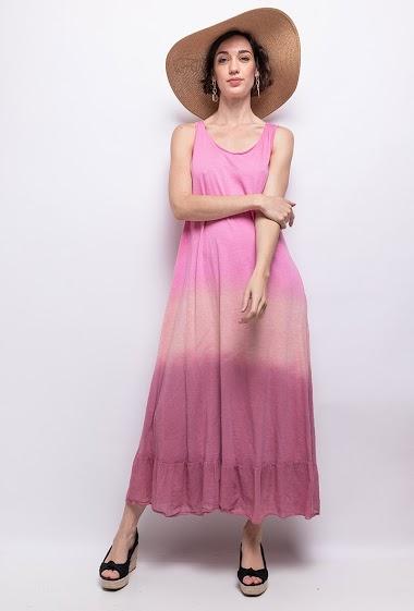 Robe longue en tie and dye 100% coton - For Her Paris