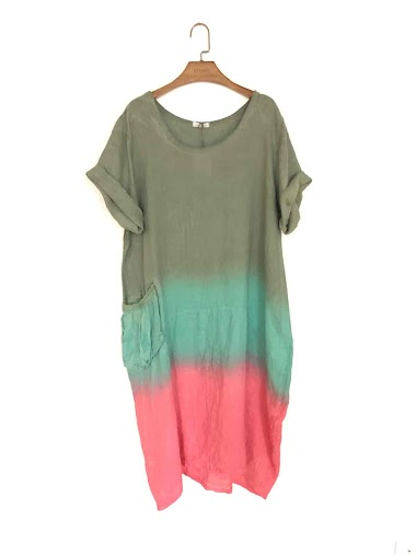 Tie and dye long dress in 100% linen - For Her Paris