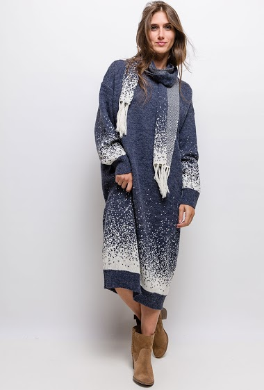 Long Big size Printed knit dress - For Her Paris