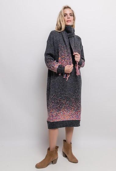 Robe Longue Grande Taille en maille imprimée - For Her Paris