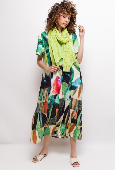 Big size printed long dress CALI - For Her Paris