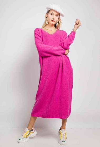 Long V-neck knit dress - For Her Paris