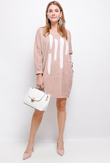 Robe oversize en 100% coton avec 2 poches - For Her Paris