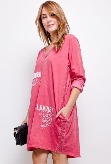 Robe oversize en 100% coton col V avec 2 poches - For Her Paris