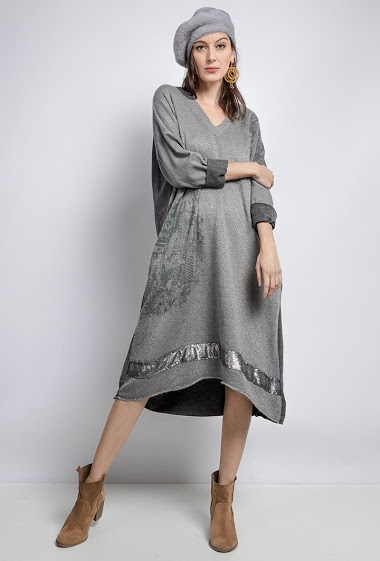 oversized cotton V-neck dress with 2 pockets - For Her Paris