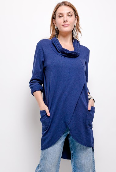 Robe oversize unie en 100% coton avec 2 poches - For Her Paris