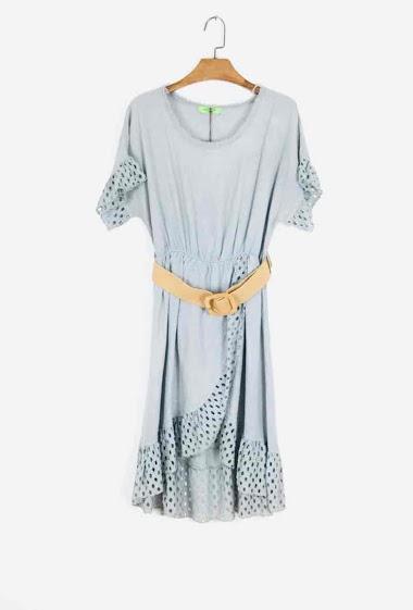 Plain dress with belt - For Her Paris