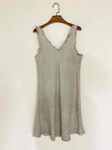 plain dress in cotton and linen - For Her Paris