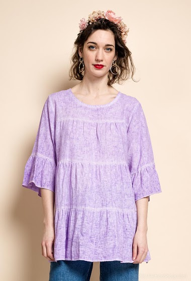 Plain tunic in linen and cotton - For Her Paris