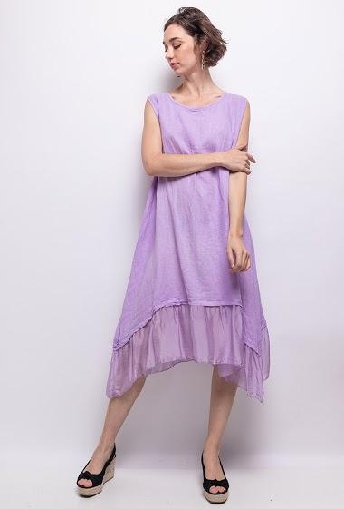 robe unie en lin et soie - For Her Paris