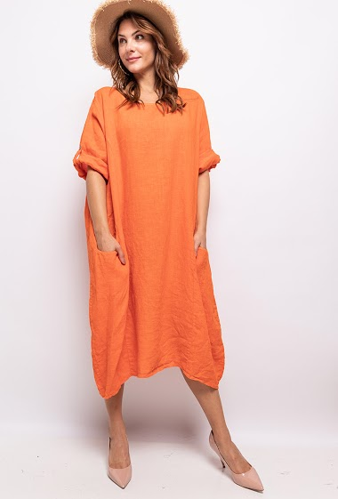 robe unie Grande Taille 100% lin - For Her Paris